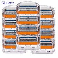 Giulietta Для мужчин лезвия высококачественные, для бритья кассеты уход за лицом Совместимость с Gillettee Fusione бритвенные лезвия 12 шт./кор.