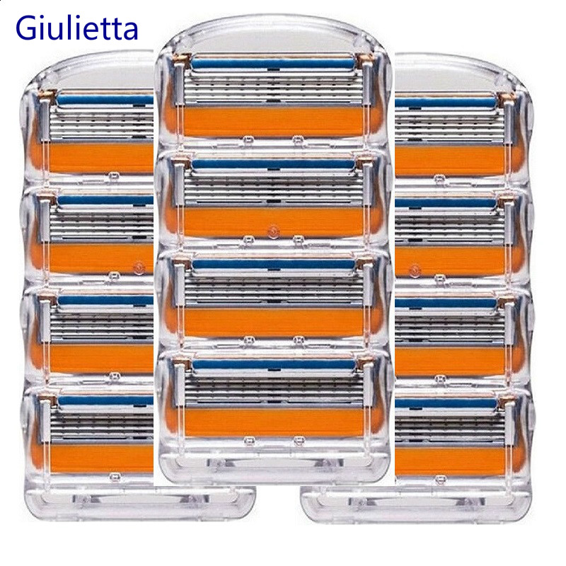 Giulietta Men Razor Blades High Quality Shaving Cassettes Facial Care Compatible with Gillettee Fusione Shaving Blades 12pcs/Box