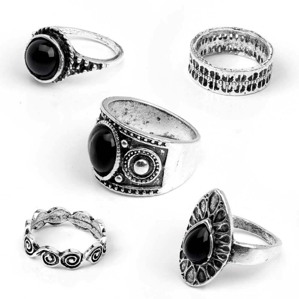 Tocona 5pcs/Set Vintage Retro Carving Antique Gold Silver Color With Black Stone Rings Sets for Women Midi Rings Jewelry 3293