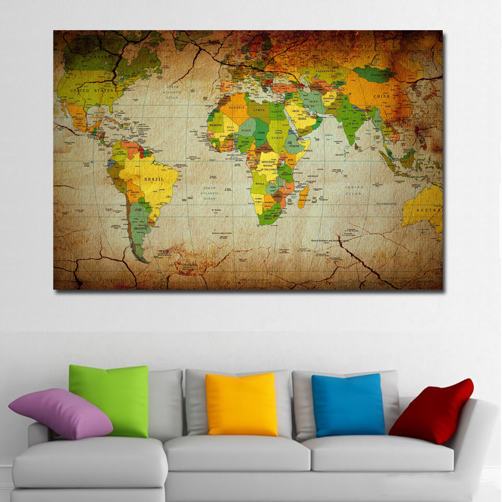 SELFLESSLY Unique Vintage HD WORLD MAP Canvas Painting Printing ...