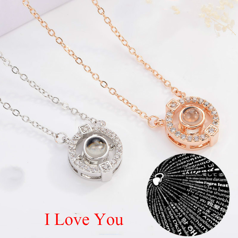 100 Languages I Love You Necklace Light Projection Valentine's Day Lover Gifts Box