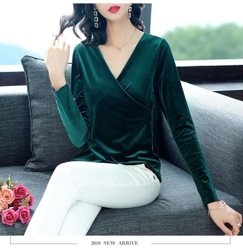 Nouveau 2018 automne hiver hauts de haute qualité velours haut pour les femmes col en v solide velours à manches longues vert foncé café hauts Blouses XXL