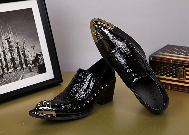 Formais Do Sapatos Aço Zapatos Genuíno Dos Hombre Sapatas De Pointy Italianos Dedo Preto Vestir Pé Mocassins Marcas Mens Escritório Couro Homens qnw7gvwFY
