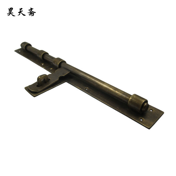 [Haotian vegetarian] bronze Chinese antique copper bolt latch wooden door latch King HTH-142 antique chinese antique furniture copper fittings metal door latch bolt windows