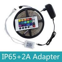 Водонепроницаемый RGB светодиодные полосы света 3528 SMD 300 светодиодный s Гибкая полоса света с 24 клавишами дистанционного управления + DC 12 V ада...