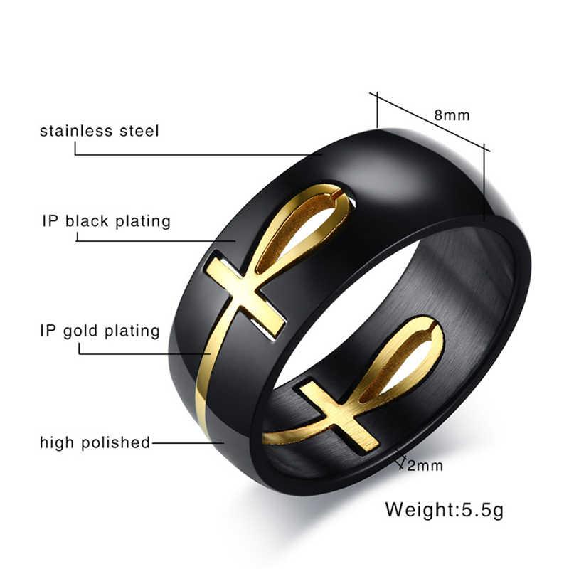 Mens טבעת להפרדה אנק מצרי צלב טבעות גברים נירוסטה טבעת שחור זהב דתי תכשיטי acier inoxydable bijoux