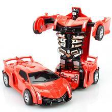 Inertia Crash PK Car Deformation Robot Action Figures Toy for Kids