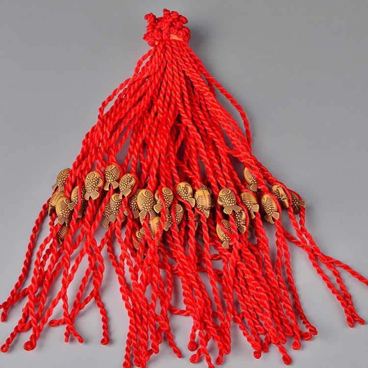 1 pc חם נשים בנות סיני קשר לב עלה חבל שרשרת מזל קסם הגון אדום חבל צמידי בעלי החיים Pandant תכשיטים מתנה