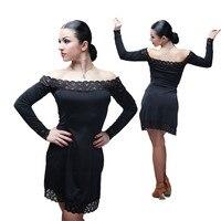 Black Lace Latin Dress Competition Dance Skirt Ballroom Women Latin Dance Dress