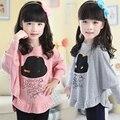 Девочки весна осень летучая мышь рубашка ребенок верхняя одежда девушки мультфильм с длинными рукавами футболка детская мода блузка