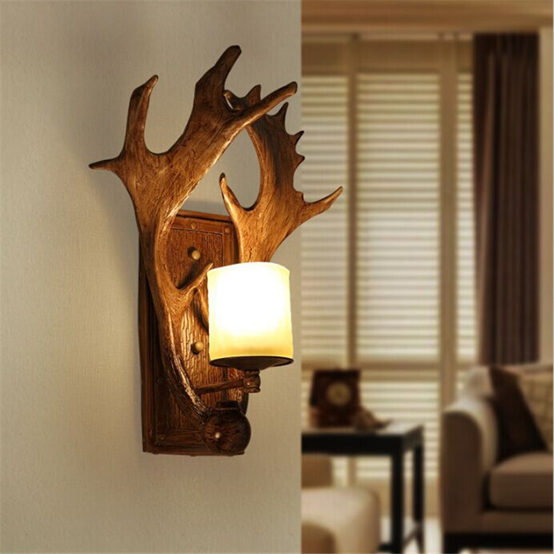 American Country Retro Nordic Resin Antlers Restaurant Wall Lamp Bedroom Aisle Cafe Bar Balcony Decoration Lamp Free Shipping nordic american country loft minimalist restaurant bar balcony aisle trumpet glass bell crystal chandelier lamp light lighting