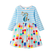 Long Sleeve Cartoon Dress for Baby Girls Spring Autumn Cotton Dinosaur Unicorn Princess Dress for Kids Stripes Baby Girl Clothes spring autumn cute baby kids girls party dress kids clothes cotton toddler girl clothing long sleeve baby girl princess dress