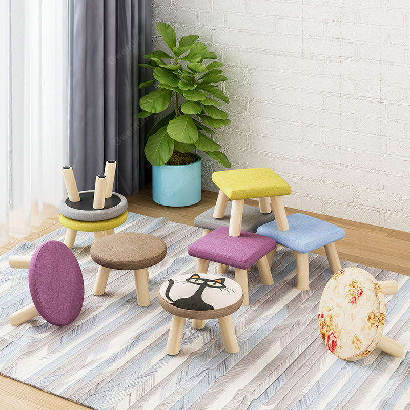 Terrific Round Square Fabric Wooden Stool Chair For Children Small Beatyapartments Chair Design Images Beatyapartmentscom