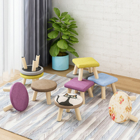 Round Square Fabric Wooden Stool Chair for Children Small Footstool Change Shoes Sofa Ottoman Kids Furniture Bedroom Wood Bench