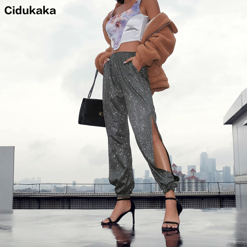 Cidukaka Split Side Glitter Trousers Women Elegant High Waist Ladies Pants Harajuku Black Harem Pants Capris Summer Streetwear