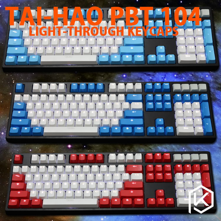 Taihao Pbt Double Shot Keycaps For Diy Gaming Mechanical Keyboard Backlit Caps Oem Profile Light Through Red Blue White Grey