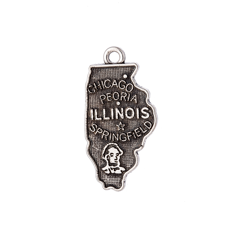 Double side Silver Illinois State Map Dangle Charms Jewelry DIY Fit Bracelet Necklace 30PCS/Lots