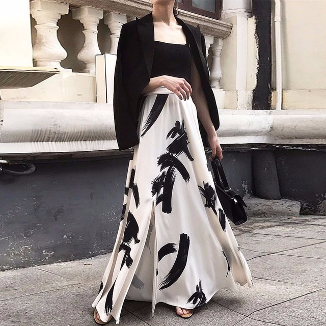 TWOTWINSTYLE Print Split Skirt Ladies High Waist Elastic Large Size X Long Elegant Skirts Female 2019 Spring Summer Tide Clothes 6
