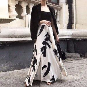 Image 4 - Twotwinstyleプリント分割スカートの女性のハイウエスト弾性大サイズxロングエレガントなスカート女性2020春夏の潮服