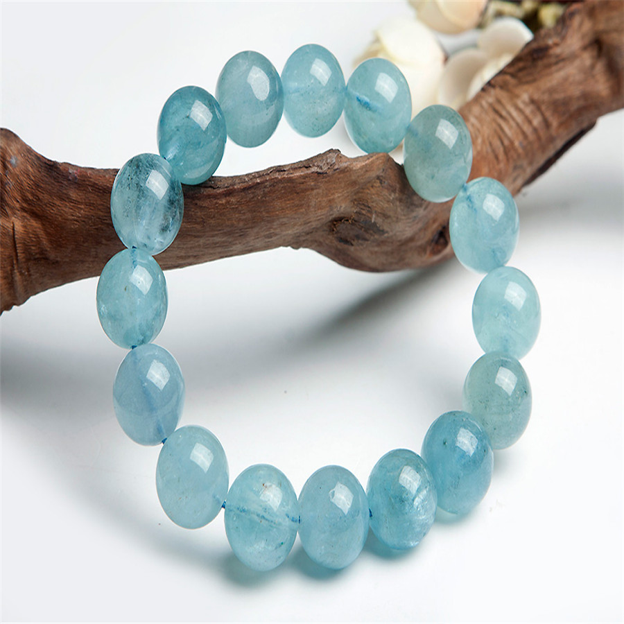 12.5 mm Genuine Natural Blue Crystal Quartz Bracelets For Women Femme Charm Stretch Charm Round Bead Bracelet 8 5mm natural zoisite gem stone crystal round bead bracelets for women femme charm stretch bracelet