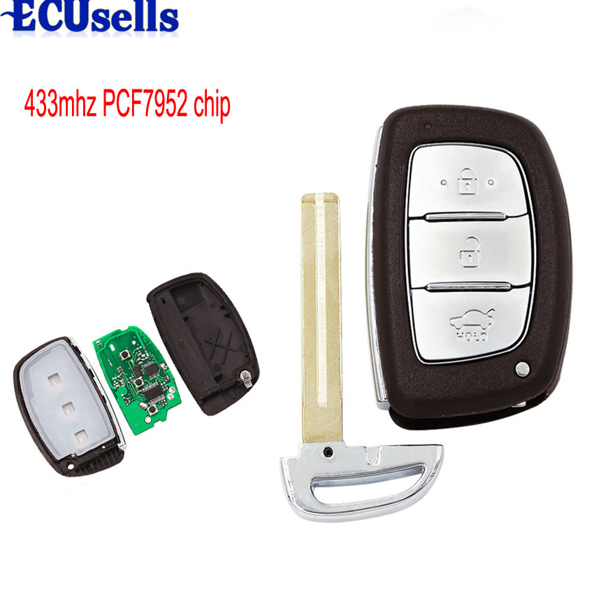 3 Buttons For Hyundai VERNA ELANTRA Smart Remote Key Control 433MHZ Keyless Entry Push Small Key Fob With PCF7952 Chip Uncut