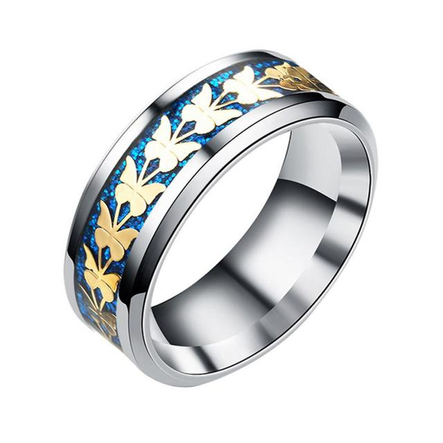 Fashion Stainless Steel Women Men Bohemian Vintage Butterfly Totem Rings Jewelry