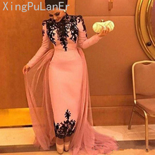 Straight Pink Muslim Evening Dresses Long Sleeves Appliques Lace Formal Islamic Dubai Saudi Arabic Long Prom Evening Gown цены онлайн