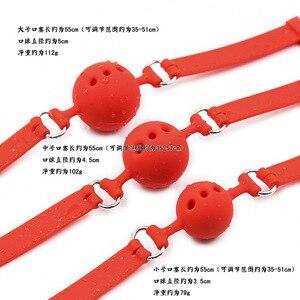 Image 5 - 3 גדלים רך בטיחות סיליקון פתוח פה איסור פרסום כדור שעבוד מעצורים סקס צעצועים לנשים עבדים Gag עם חורים פתוחים עבור זוגות