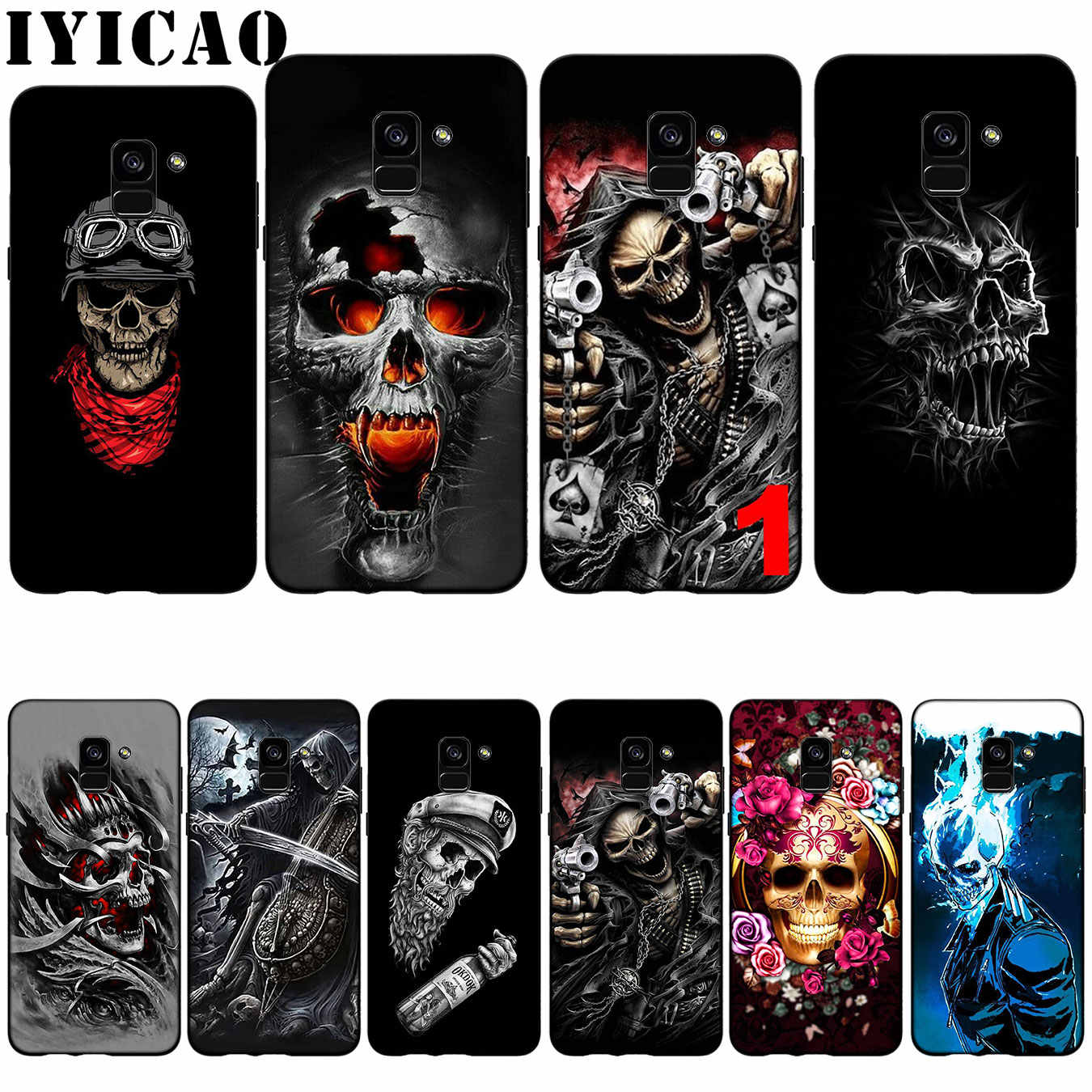 IYICAO Grim Reaper Skull Skeleton Silicone Soft Case for Samsung Galaxy A6 Plus A9 A8 A7 2018 A3 A5 2016 2017 Note 9 8