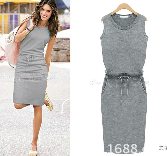 9fe1023613f4 Summer style Gray Casual T shirt Dress Sleeveless Mini Beach Women Dresses  Vestidos kleider Brandy Melville