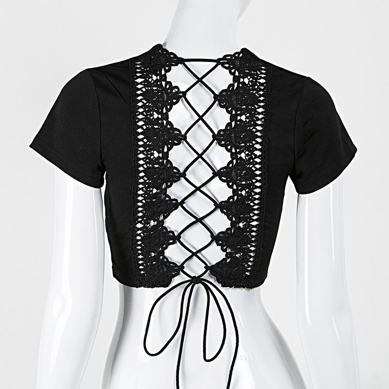 Lace Up Back Sexy T-shirt, Crisscross Fashion T- shirt, Summer Crop Top 14