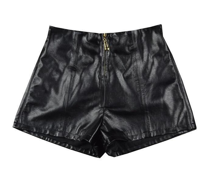 Shorts Front-Zipper Sexy Black Big-Size Summer Women's Genuine-Leather Fashion Ladies