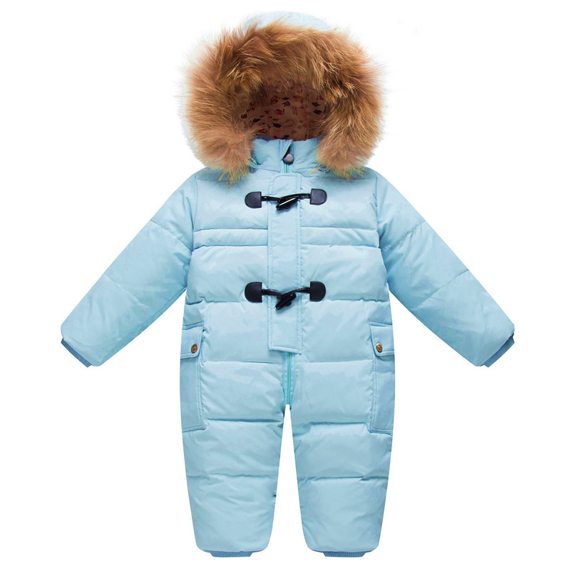 Cold Winter Costumes Baby Clothes Newborn Warm Rompers Enfant Outwear Snowsuit Fur Collar Duck Down Waterproof Jumpsuit Boy Girl baby rompers 2016 newborn body baby boy girl clothes jumpsuit long sleeve infant onesie product turn down collar romper costumes