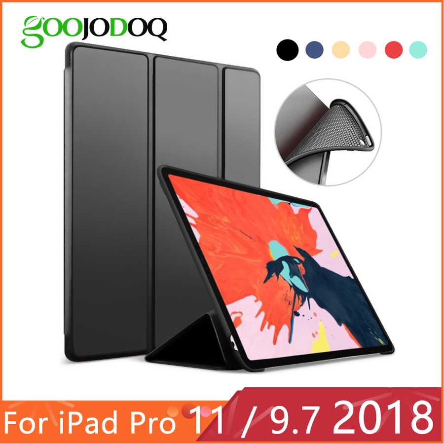 IPad 9.7 2017 2018 Case for iPad Pro 11 Silicone Soft Back PU ტყავის Smart Cover Funda for iPad 2018 მე -6 თაობის საქმე
