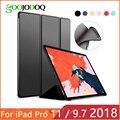 Para iPad 9,7 2017 2018 Funda para iPad Pro 11 silicona suave trasera cuero PU Funda inteligente para iPad 2018 6th generación caso