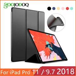 Para o iPad 9.7 2017 2018 Caso para iPad Pro Funda 11 Silicone Suave Voltar PU Couro Smart Cover para iPad 2018 6th geração Caso