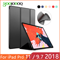 Pour iPad 9.7 2017 2018 Cas pour iPad Pro 11 Silicone Souple Retour PU Cuir Smart Cover Funda pour iPad 2018 6th génération Cas