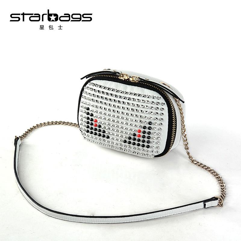 starbags new rock stud women super genuine leather messenger bag brand design lady fashion cool shoulder bags hot