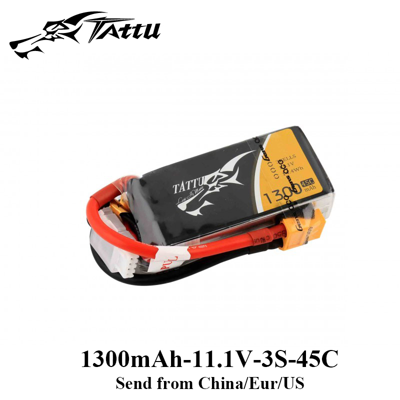 Tattu Lipo Battery 1300mAh 11.1V Lipo 3S Battery 45C-90C XT60 Plug RC Battery Quadcopter FPV Frame Drone RC Helicopter Boat gens ace lipo battery 3s 5200mah lipo 11 1v battery pack 3 5mm banana connector 10c battery fpv hobbies rc models accessories