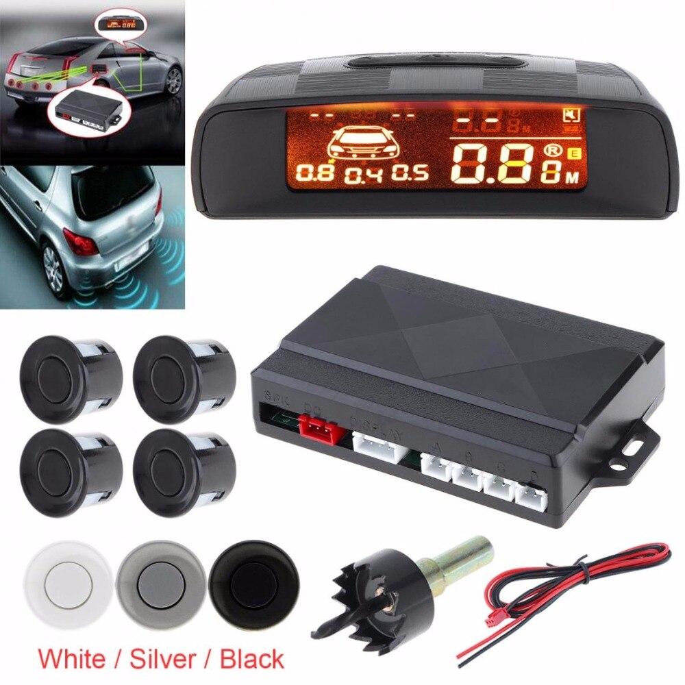 Parktronic carro LED Sensor de Estacionamento com 4 Reverso Sensores de Backup Sistema de Estacionamento Monitor de Detector de Radar Do Carro com Display LCD