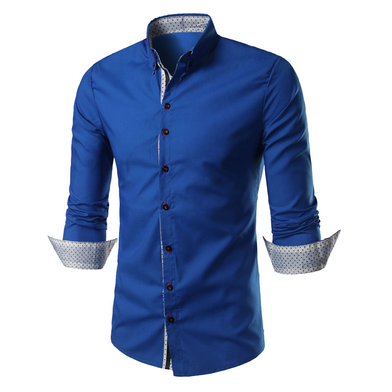 NEW Fashion Men Shirt New Casual Long-Sleeved Chemise men Business Self-cultivation Small Dot decoration Comfortable shirt