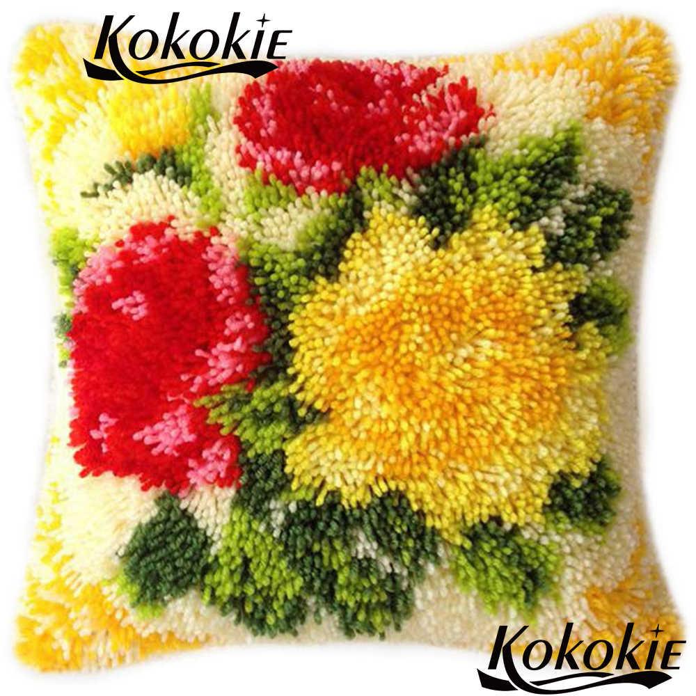 Mandal kanca halı nakış yastık kitleri El Yapımı çapraz dikiş çiçek yastıkları paspaslar Tığ Işi Kilim Kitleri Iplik diy halı halı