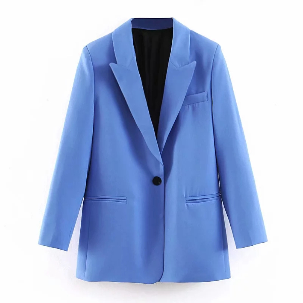 Klacwaya Women Elegant Blue Blazer Suit 2019 Fashion Ladies Single Button Blazers Jackets Girls Notched Collar Suits Set Tops