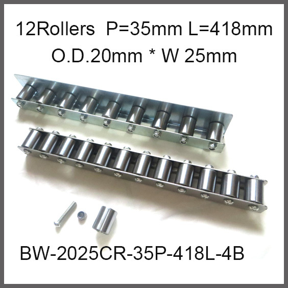 12pcs wheels 35mm Pitch * 418mm Long Skate Wheel Conveyor Wheel 20mm O.D.* 25mm Width Gravity Conveyor roller Capacity 40Kgf