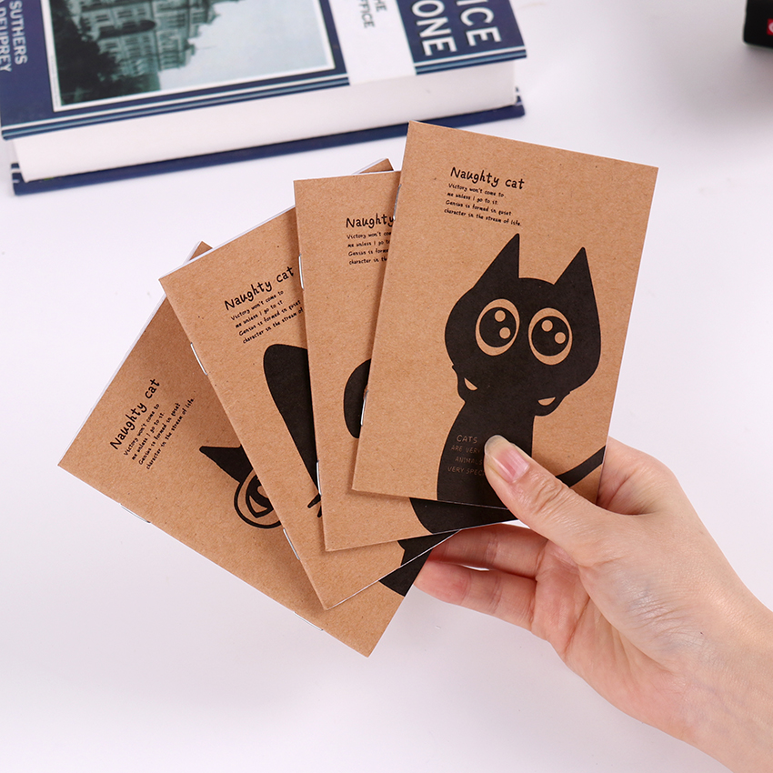 1 PC Mini Blank Notebook Office Supplies School Creative Kraft Paper Cat and Circus Style Filofax Notepad Diary Students