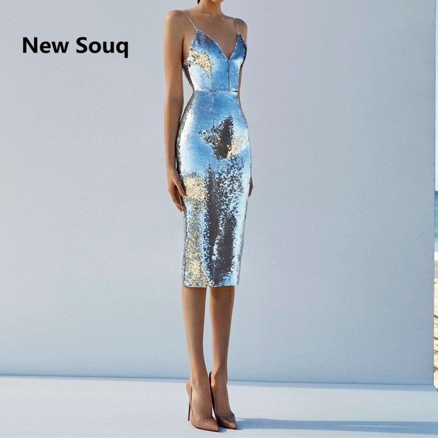 Silver Sequins Prom Dresses Sexy Spaghetti V-neck Backless Knee Length Short Prom Dress Custom Made Cheap Bridesmaid Dress