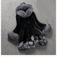 2019 Autumn Winter Women Fox Fur Hooded Long Faux Mink Fur Coat Fur Collar Loose Plus Size Faux Fur Jacket Coat