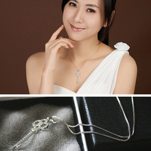 20pcs/lot Glitter Hollow Crystal Necklaces With Rhinestone Key Pendent Women Wedding Party Neckchains jn316
