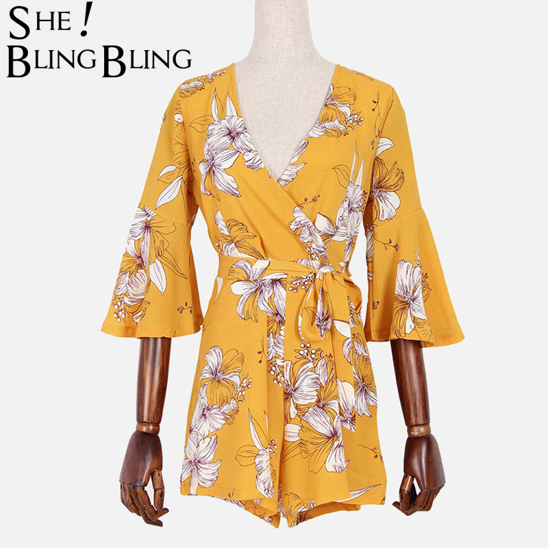 SheBlingBling Three Quarter Sleeve Floral Print Chiffon Wrap Rompers Flare Sleeve Zip-Back Women High Waist Playsuits with Belt