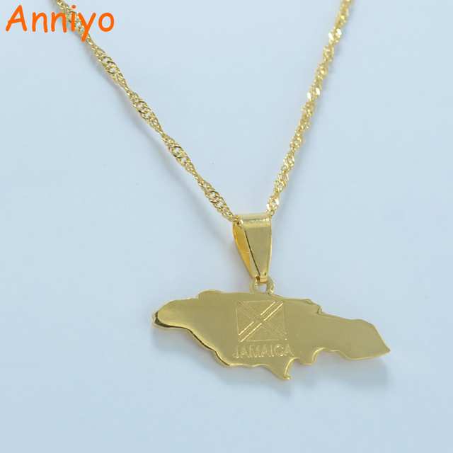 Anniyo Jamaica Map Pendant Necklaces Jewellery Gold Color Jewelry
